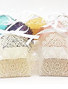 baratos Loja de Casamentos-Oval Papel Pérola Suportes para Lembrancinhas com Fitas Caixas de Ofertas