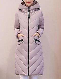 Damen Gefüttert Mantel,Lang Sexy Einfach Niedlich Lässig/Alltäglich Arbeit Ausgehen Solide-Baumwolle Acryl Polyester Polyester Langarm