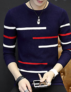Men's Daily Long Pullover,Solid Round Neck Long Sleeves Cotton Winter Fall Medium Micro-elastic