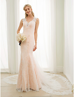 Mermaid / Trumpet Plunging Neckline Chapel Train Lace Tulle Wedding Dress with Appliques Buttons by LAN TING BRIDE®
