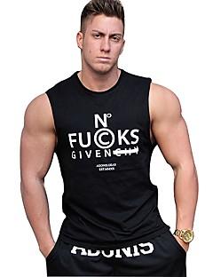 billige Løbetøj-Herre Træningsundertrøje Svedreducerende, Åndbarhed T-Shirt / Toppe for Afslappet / Træning & Fitness / Fitness Bomuld Sort L / XL / XXL