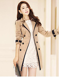 Women's Casual/Daily Active Fall Trench Coat,Color Block Stand Long Sleeve Long Polyester
