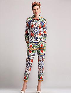 Damen Solide Blumen Einfach Lässig/Alltäglich Shirt Hose Anzüge,Hemdkragen Herbst Lange Ärmel