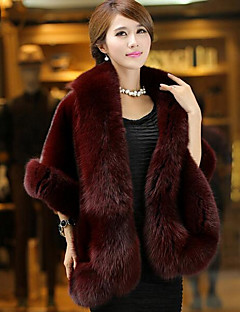 Women's Casual/Daily Simple Winter Fall Fur Coat,Solid Square Neck Half Sleeves Regular Faux Fur
