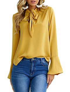 Women's Casual/Daily Sexy Fall Blouse,Solid V Neck Long Sleeves Polyester Medium