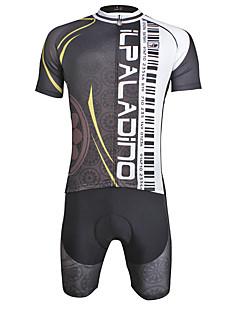 billige Sykkelklær-ILPALADINO Herre Kortermet Sykkeljersey med shorts - Svart Sykkel 3D Pute, Fort Tørring, Sommer, Lycra