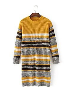 baratos Suéteres de Mulher-Feminino Longo Pulôver,Para Noite Casual Simples Fofo Listrado Estampa Colorida Decote Redondo Manga Longa Lã Algodão Poliéster Primavera