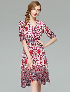 お買い得  レディースドレス-女性用 Aライン シース スウィング ドレス - プリント Vネック