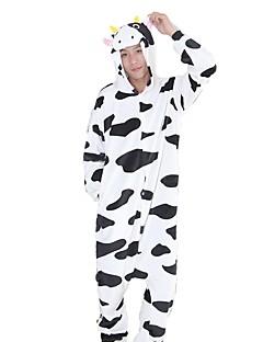 Kigurumi Pyjamas Melkeku Kostume Svart hvit Flannelstoff Cosplay Kostumer Kigurumi Trikot / Heldraktskostymer Cosplay Festival / høytid