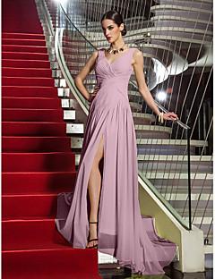 baratos Vestidos de Formatura-Tubinho Decote V Cauda Corte Georgette Baile de Formatura / Evento Formal Vestido com Cruzado / Franzido de TS Couture®