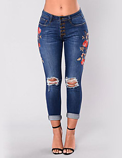 Women's High Rise Stretchy Jeans Pants,Sexy Street chic Skinny Ripped Embroidered Embroidered
