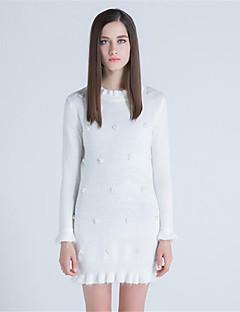 Kadın Günlük/Sade Kılıf Elbise Solid,Uzun Kollu Yuvarlak Yaka Diz üstü Yünlü Polyester Sonbahar Kış Normal Bel Mikro-Esnek Orta