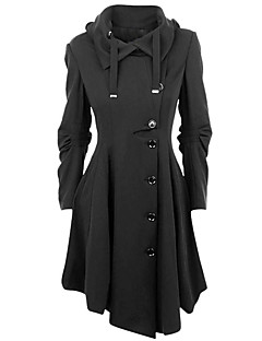 Women's Plus Size Going out Simple Vintage Street chic Fall Winter Coat,Solid Peaked Lapel Long Sleeve Long Cotton Polyester Oversized