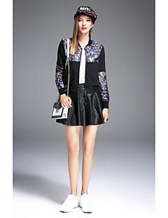 Damen Solide Druck Einfach Lässig/Alltäglich Jacke,Rundhalsausschnitt Herbst Lange Ärmel Kurz Baumwolle Polyester