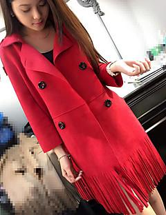 レディース お出かけ 秋 トレンチコート,ストリートファッション シャツカラー ソリッド ロング コットン 長袖
