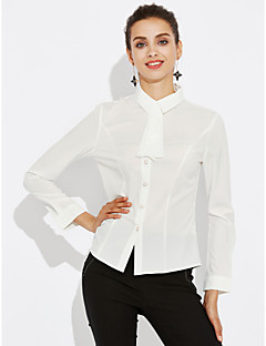 Women's Plus Size Sexy Cute All Seasons Shirt,Solid Shirt Collar Long Sleeve Polyester Medium