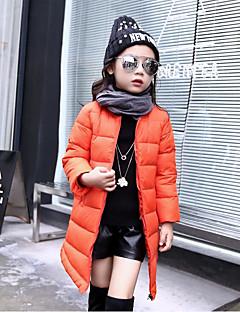 billige Jakker og frakker til piger-Pige dun- og bomuldsforet Ensfarvet, Bomuld Polyester Vinter Efterår Langærmet Sort Orange Rød Lyserød Grå