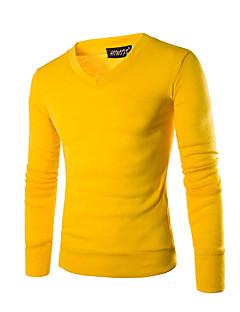tanie Męskie swetry i swetry rozpinane-Męskie Sport W serek Pulower Jendolity kolor Długi rękaw