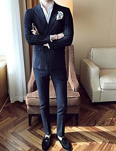 メンズ カジュアル/普段着 ワーク 春 秋 スーツ,シンプル セクシー ピークドラペル ストライプ レギュラー コットン ポリエステル 長袖