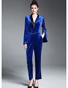 billige Jumpsuits og sparkebukser til damer-Dame Kjeledresser - Fargeblokk V-hals