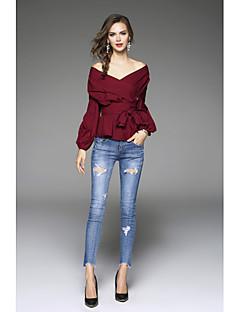 Bomull Langermet,V-hals Skjorte Ensfarget Sexy Ut på byen Dame