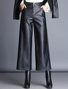 billige Nederdele og bukser til damer-Dame Plusstørrelser Bredt Bukseben Bukser Ensfarvet