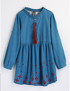 Girls' Embroidered Blouse,Cotton Fall Long Sleeve Blue