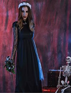 billige Halloweenkostymer-Skjelett / Kranium Zombie Brud Cosplay Kostumer Halloween De dødes dag Festival / høytid Halloween-kostymer Svart Mote