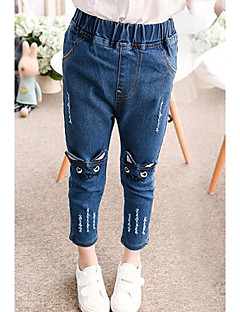 Girls' Embroidered Jeans,Cotton Spring Blue