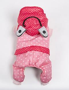 billiga Hundkläder-Hund Dräkter/Kostymer Kappor Huvtröjor Jumpsuits Hundkläder Prickig Orange Gul Rosa Tyg Terylen Kostym För husdjur Ledigt/vardag Håller