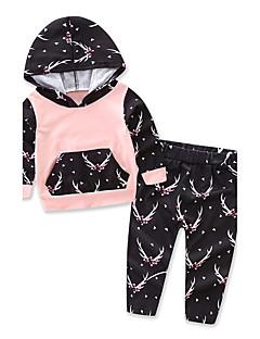 billige Tøjsæt til piger-Pige Tøjsæt Galakse, Bomuld Polyester Forår Efterår Langærmet Blomster Pænt tøj Lyserød