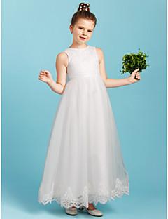 billiga Första nattvardsklänningar-Prinsessa Ankellång Brudnäbbsklänning - Spets Tyll Ärmlös Rund hals med Rosett(er) av LAN TING BRIDE®
