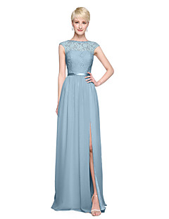 cheap Green Glam-A-Line Bateau Neck Floor Length Chiffon Lace Bodice Bridesmaid Dress with Appliques Sash / Ribbon Pleats by LAN TING BRIDE®
