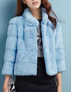 Feminino Casaco de Pêlo Casual Simples Outono Inverno,Sólido Curto Pêlo Sintético Colarinho Chinês Manga Longa