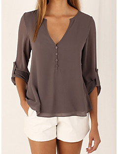 cheap Women's Tops-Women's Polyester Loose Blouse - Solid Deep V