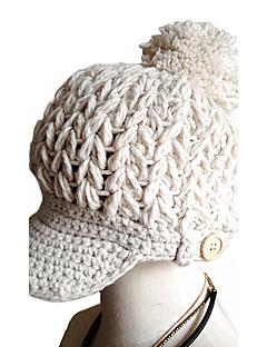billige Trendy hatter-Dame Hatt Mønster Hodeplagg Chic & Moderne Hold Varm Strikketøy Solhatt Skilue Baseballcaps - Ren Farge, Ensfarget