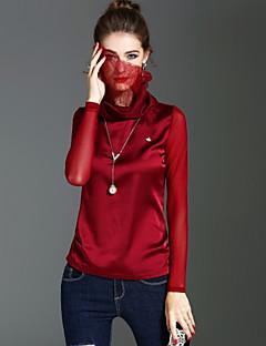 Dames Vintage Schattig Street chic Lente Herfst T-shirt,Feestdagen Uitgaan Effen Coltrui Lange mouw Polyester Medium