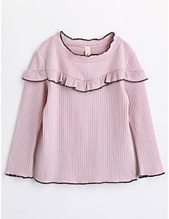 Para Meninas Camiseta Cor Única Outono Algodão Manga Longa