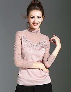 Dames Vintage Street chic Verfijnd Lente Herfst T-shirt,Feestdagen Uitgaan Effen Coltrui Lange mouw Polyester Medium