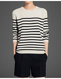 baratos Suéteres de Mulher-Mulheres Manga Longa Pulôver - Listrado / Estampa Colorida / Primavera / Inverno / Belas Stripe