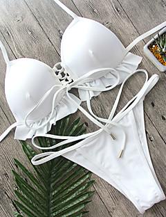 Dame Bikini Rynker Ensfarget stuper halsen Snøring Solid