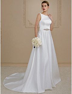 A-Line Princess Scoop Neck Court Train Satin Wedding Dress with Beading Buttons Pockets Sashes/ Ribbons by LAN TING BRIDE®