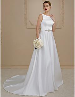 A-kroj Princeza Srednji šlep Saten Vjenčanica s Perlica Gumbi Džepovi Lente / Vrpce po LAN TING BRIDE®