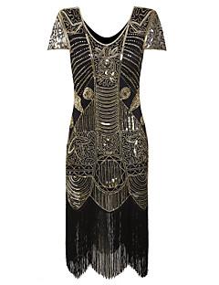 Latein-Tanz Kleider Damen Aufführung Polyester Pailletten Pailetten 1 Stück Kurze Ärmel Hoch Kleid