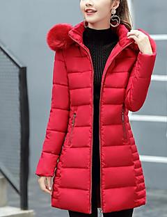 Damen Gefüttert Mantel,Lang Street Schick Ausgehen Lässig/Alltäglich Solide-Baumwolle Baumwolle Langarm
