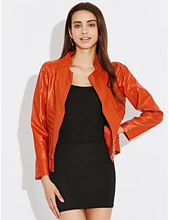 Street chic Fall Leather Jackets,Solid Stand Long Sleeve Black / Orange PU Medium