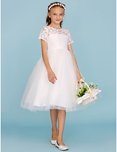 A Line Princess Crew Neck Knee Length Lace Tulle Junior Bridesmaid Dress With Pleats By Lan Ting Bride Wedding Party See Through