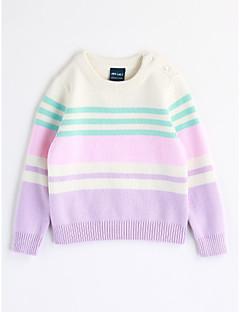 billige Sweaters og cardigans til piger-Pige Bluse Stribe, Bomuld Efterår Langærmet Stribet Lyseblå