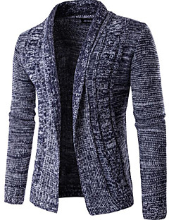 Men's Going out Regular Cardigan,Solid Round Neck Long Sleeves Others Winter Spring Medium Micro-elastic