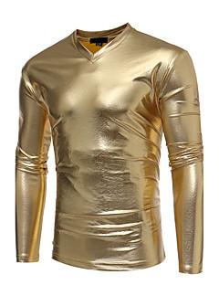Polyester Medium Langermet,V-hals T-skjorte Ensfarget Trykt mønster Vår Høst Enkel Fritid/hverdag Herre